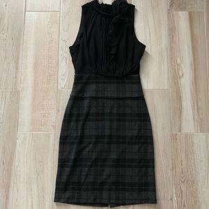 BCBGMaxazria Black Ruffle Gray Plaid Fitted Dress